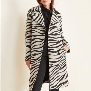 Ann Taylor Zebra Print Trench Coat Black Ivory